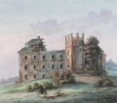 Zamek w Bodzentynie w poł. XIX w., mal. Teodor Chrząński